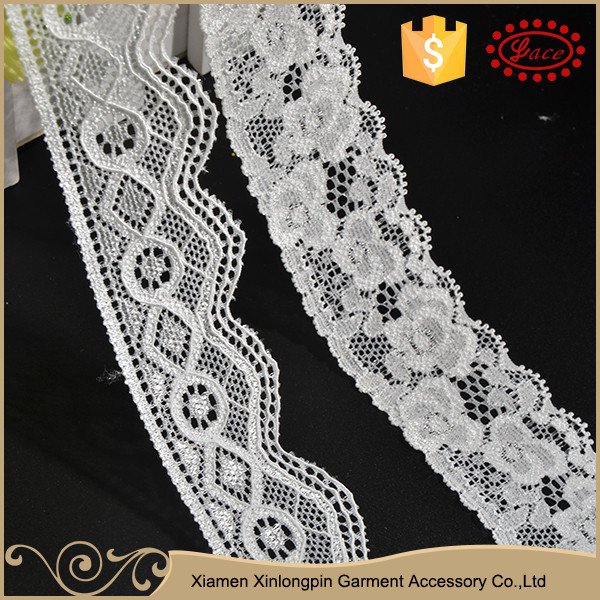 New design multi-style white elastic eyelash lace trim for dresses