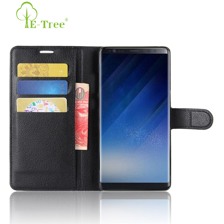 E-Tree brand original lichee pattern flip leather case for Samsung galaxy note 8 leather phone cover