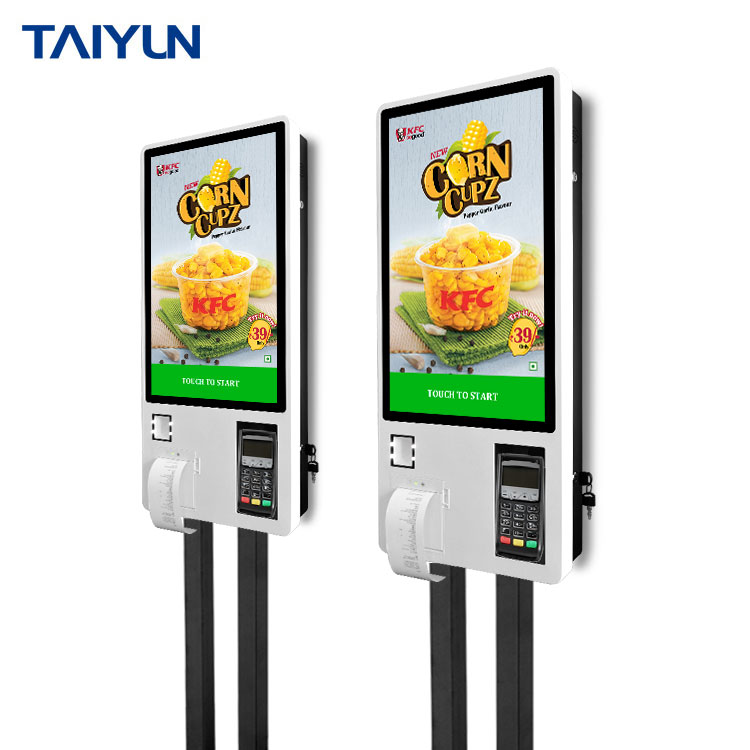 Floor stand 24 inch touch screen payment self service interactive kiosk with ticket printer