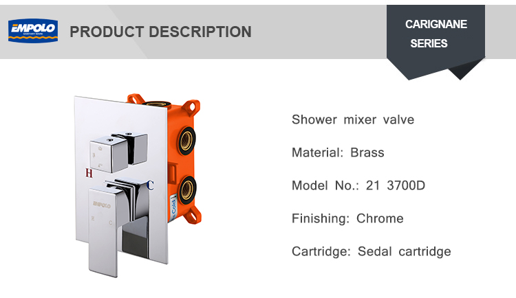 High quality 3 Functions Solid Brass Chrome Shower Mixers Valve with concealed box