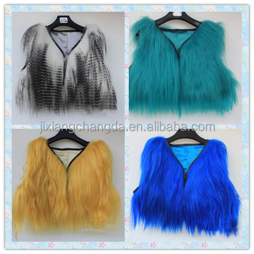women colorful long hair goat fur mini vest waistcoats