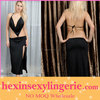 Wholesale 2013 sexy cheap satin long black lingerie gowns