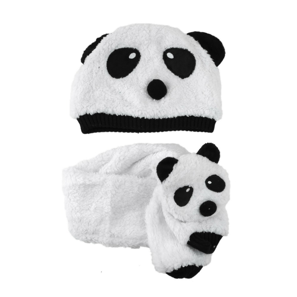 Cute Winter Wram Children baby Kids Panda Hat Cap Beanie and Scarf One Sets