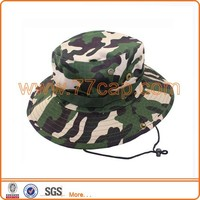 Camo cotton bucket bush hat hiking outdoor with string