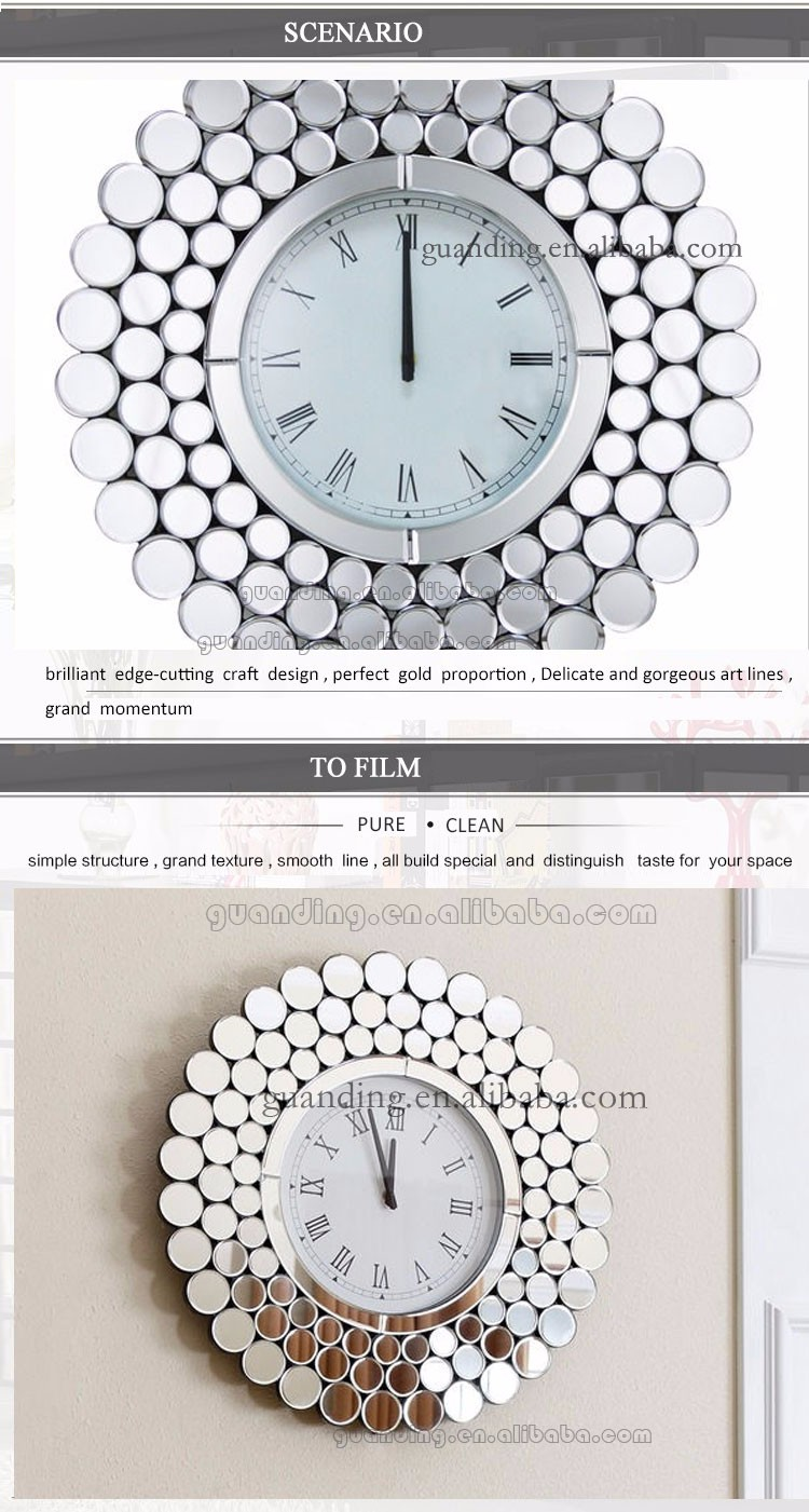 new wall clock with mirror for decor and big size mirror clock