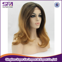 Ombre color synthetic hair lace front wig half handmade wig