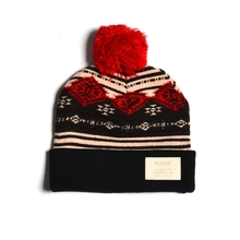 Fashion Leather Patch Jacquard Knitting Unisex Winter Hat With Ball On Top