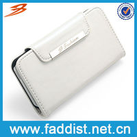 Dazzling white PU phone case for iphone4 4s with wallet
