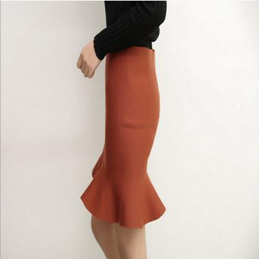 Autumn and winter skirt Korean color bag hip slim tail skirt flounces women knitwear skirt