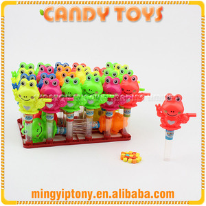 Hot sale sweet hard candy with plastic toy frog and whistle