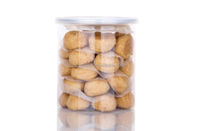 empty biscuit cookies container plastic can