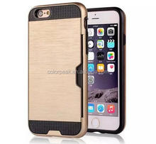 Creative Shockproof 2 in 1 tpu+ pc Brushed Card slot Armor back case cover for iPhone 6 6Plus