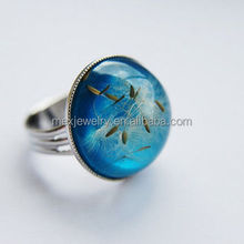Blue Dandelion Turquoise Dandelion Seeds Resin Ring Jewelry Botanical Ring Adjustable Nature Wish Childhood Memory