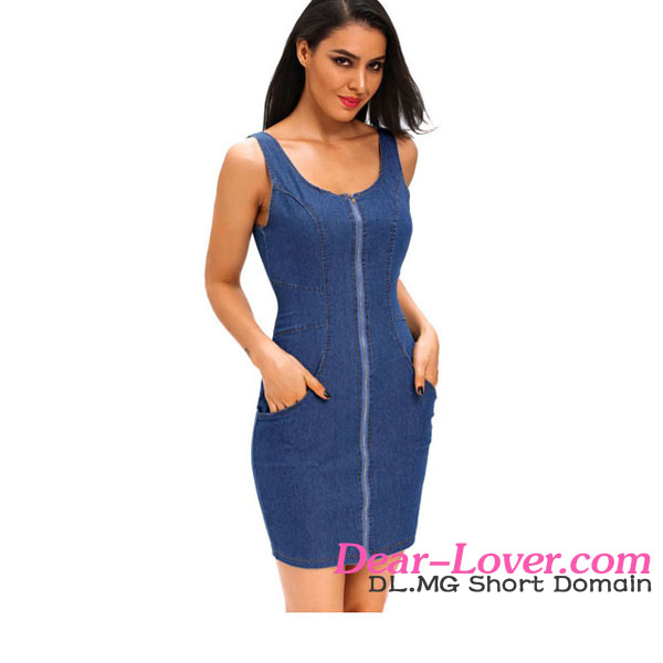 Cheap stylish Women Sexy Zip Front Sleeveless Mini denim dress patterns