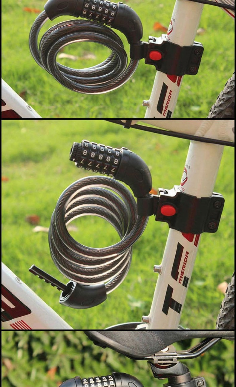 5 Digit Password Security Bicycle Lock Cable Colorful Bicycle Motorcycle Bike Security Cycling Bicycle Lock