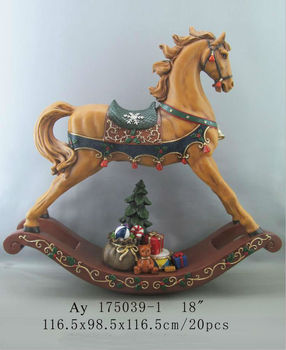 18inch Christmas Decoration Resin Rocking Horse Statue