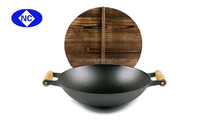 30cm 32cm 35cm cast iron wok support with wooden handles