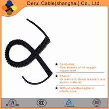 High flexible PVC spiral power cable 4 cores stranded wires