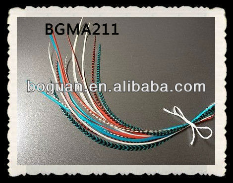 Peal Turquoise Coral Grizzly Rooster Feather Hair Extension
