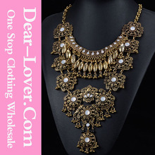 Customized Gold Retro Bright Peacock Flash Rhinestone latest design beads necklace