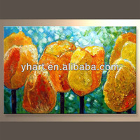 Wholesale Handmade Wall Art Decor Yellow Flower Paintings