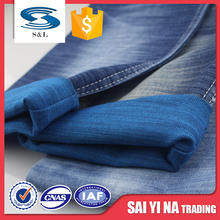 Thin stretch stripe design washing style polyester cotton rayon blend denim fabric