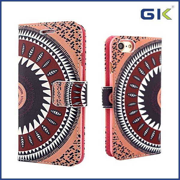 [GGIT] New Model 3D Relief Colorful Drawing Holster TPU+PU Leather Case For IPhone 7 Cover