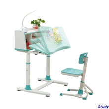 Wooden table top kids cartoon study table and chair children study desk