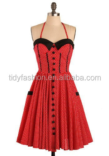 Red Vintage Retro Style Dress, 40's Pinup Glrls Dress