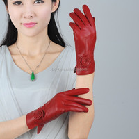 Ladies sexy red leather sheep skins glove premium leather gloves for woman
