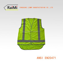 hi-viz AS/NZS polyester fabric working yellow safety vest reflective safari vest