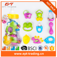 2017 baby toys plastic rings for baby teether rattle toy set