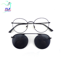 2019 designer round shape sunglass metal polarized clip on sunglasses