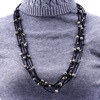 Latest design braided rope korea velvet necklace choker handmade suede gemstone stone beads long necklace