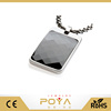 POYA Jewelry Most Unique Tungsten Tag Necklace. 4mm wide Surgical Steel Chain Black Faceted High-Tech Ceramic