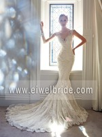 new arrival cap sleeve v neck beaded long train lace wedding dress S87
