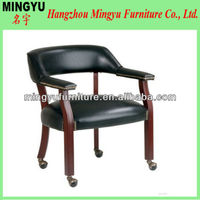 Classic Traditional Office Wooden Banker Chair with Caster with Vinyl