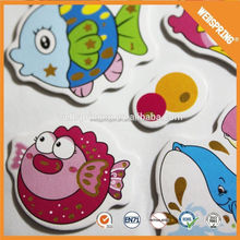 Hot promotion eco-friendly smile face 3d foam puffy sticker for kids room decor