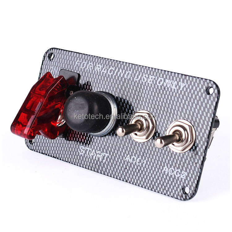 12v Power circuit switch Carbon Racing Car ignition Switch Panel