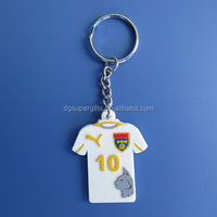 Hot sale PVC white sport T-Shirt keyring keychain,custom football soccer clothes shape key rings chains