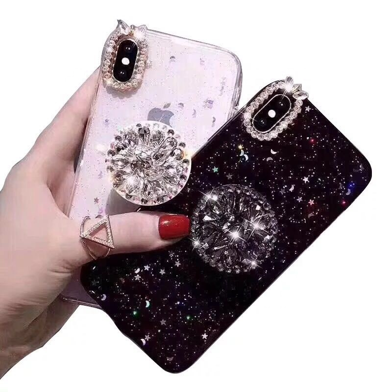 Luxury Glitter Diamond Cover For iPhone <strong>X</strong> XS Max XR 6 7 8 Plus Rhinestone 3D Grip Stand Holder Phone Cases for huawei P30 <strong>pro</strong>
