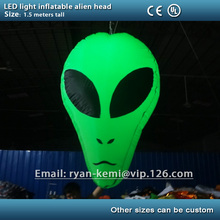 green party decoration LED light inflatable alien head Hallowmas halloween event decorative led lighted stage inflatable
