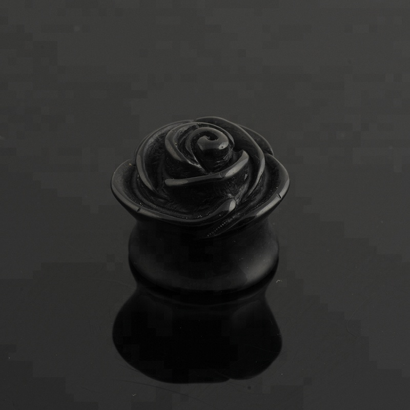 Hot Selling Gauge Black Rose Acrylic Ear Plug Jewelry