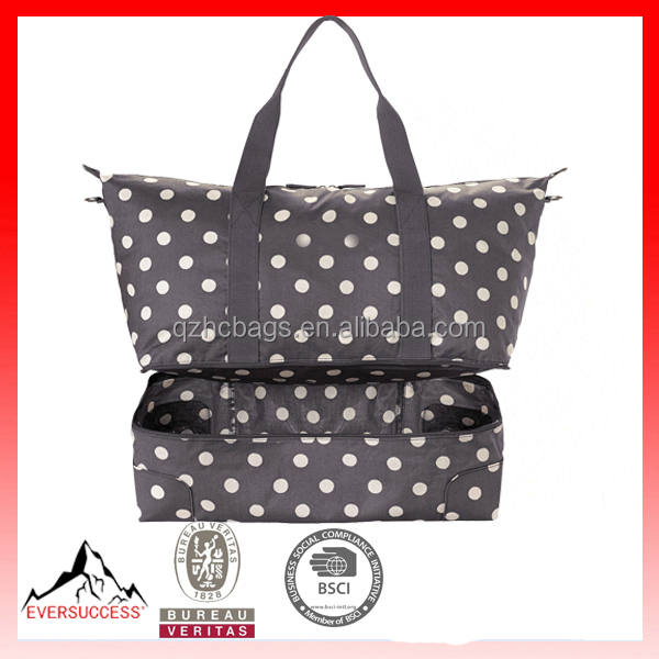 button spot foldaway double decker travel bag,canvas beach bag,canvas durrel bags HCBC0001