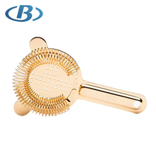 FDA Hot Sell Copper Plated Stainless Steel <strong>Flat</strong> Filter Strainer With Densely Spring