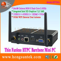 HT720A Intel Celeron N2810 2Ghz Dual Core Fanless HTPC Case Barebone Mini PC, USB2.0, USB3.0, WiFi, VGA