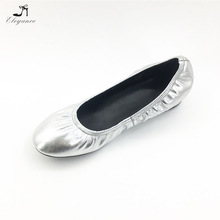 Shinning Patent Silver Genuine Leather PU Upper Round Toe Style Women Foldable Ballet Flats Loafer Shoes