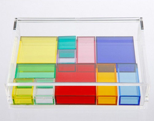 Colored cute acrylic storage organizer, custom plexiglass box, rainbow plastic storage bin