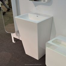 Artificial stone antique pedestal basin for hotel/public bathroom,acrylic freestanding wash basin
