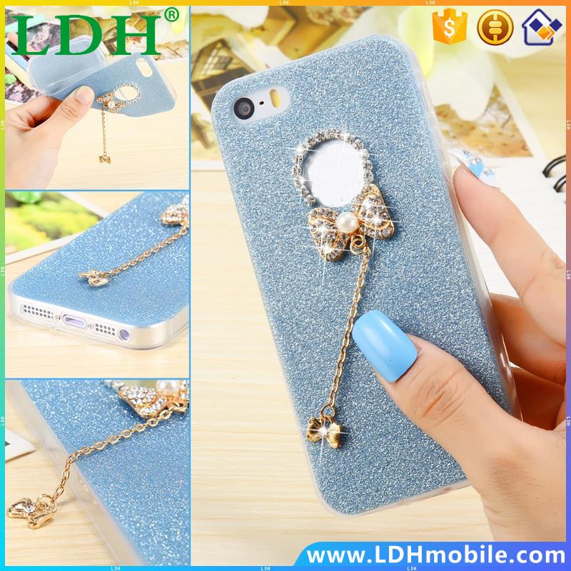 Girl Bow Knot Case for iPhone 5 5S Shiny Diamond Metal Ultra Thin Cute Soft TPU Cover for Apple iPhone5 5S Rhinestone Back Cover